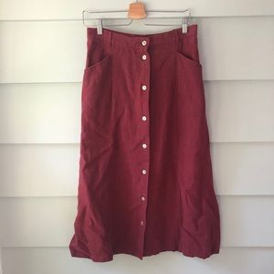 LL Bean Vtg Maroon Button Midi Skirt 100% Linen 12